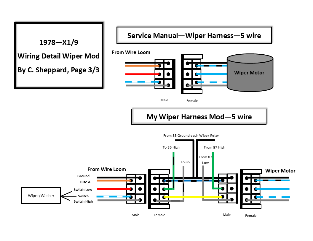schematics for 1978 - x1/9 headlight/wiper mods | xweb forums v3  xweb forums